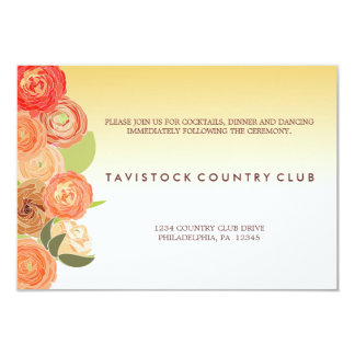 滝のように落ちる花のグラデーションな結婚披露宴カード カード