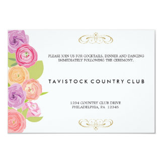 滝のように落ちる花の結婚披露宴カード カード