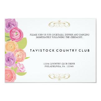 滝のように落ちる花の結婚披露宴カード 8.9 X 12.7 インビテーションカード