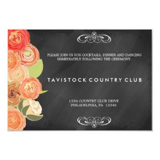 滝のように落ちる花のChalkboardWeddingの披露宴カード 8.9 X 12.7 インビテーションカード