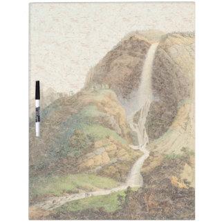 滝のアルプス山のヨーロッパのホワイトボード ホワイトボード