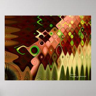 滝のカッコいいの抽象芸術のファインアートのフラクタル ポスター