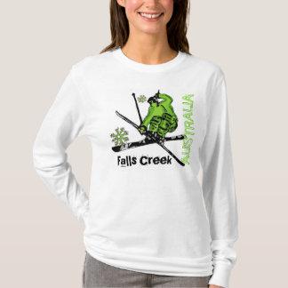 滝の入り江のオーストラリアの女性緑のスキーフード付きスウェットシャツ Tシャツ