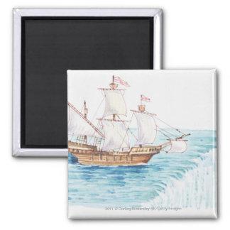 滝の船の接近の端のイラストレーション マグネット