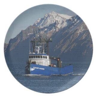滝の船員、オランダ港のカニの漁船 プレート