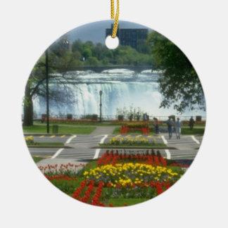 滝への赤い入口、ナイアガラ・フォールズは開花します セラミックオーナメント