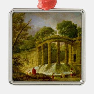 滝1760年が付いているパビリオン メタルオーナメント