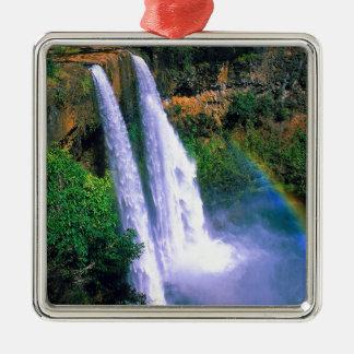 滝Wailuaカウアイ島ハワイ メタルオーナメント