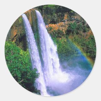 滝Wailuaカウアイ島ハワイ ラウンドシール