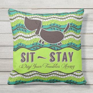 滞在のおどけ者をあなたの悩み遠くにな犬の恋人のモノグラム坐らせて下さい クッション