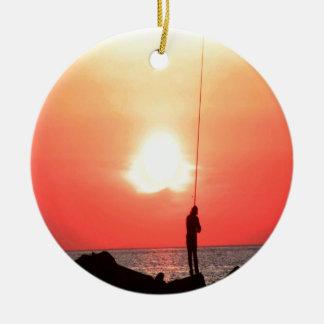 漁師の日没 セラミックオーナメント