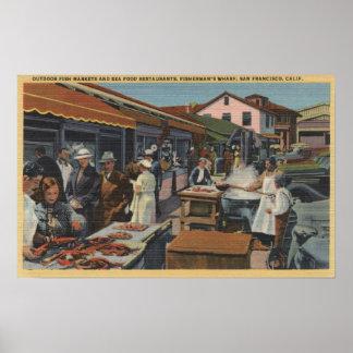 漁師の波止場の屋外の魚市場 ポスター