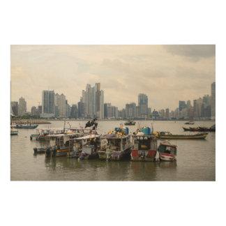 漁船とのパナマ市のスカイライン ウッドウォールアート