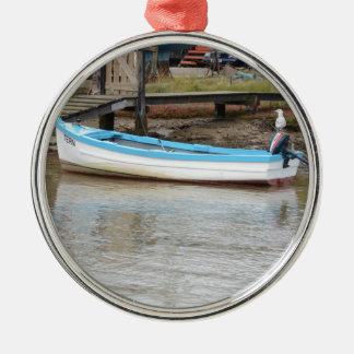 漁船のアジサシ シルバーカラー丸型オーナメント