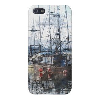 漁船のマリーナの水彩画の芸術のiPhoneの場合 iPhone 5 カバー