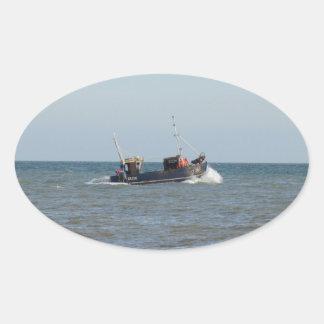 漁船の女の子Kayla 楕円形シール