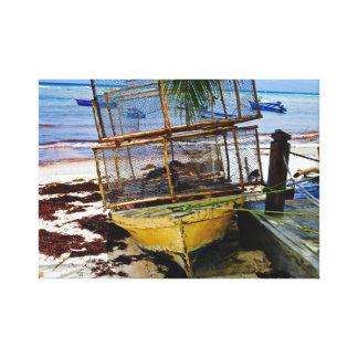 漁船の~の魚のポッドの~バルバドス キャンバスプリント
