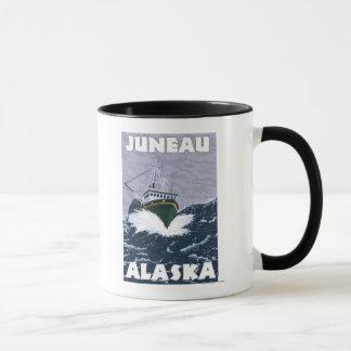 漁船場面-ジュノー、アラスカ マグカップ