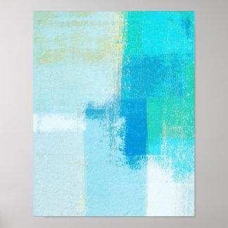 「漂流」のターコイズの抽象美術 ポスター