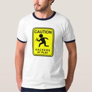 演劇でハッカーに警告しま-はさみによって走ります Tシャツ
