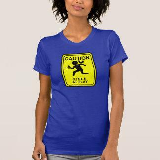 演劇で女の子に警告しま-はさみによって走ります Tシャツ