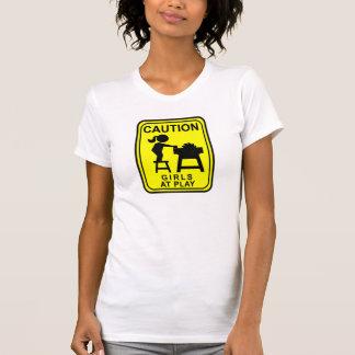 演劇のテーブルの注意の女の子は見ました Tシャツ