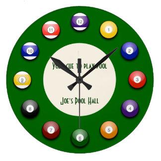 演劇のプール-玉突の玉の柱時計 ラージ壁時計