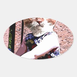 演劇の猫 楕円形シール