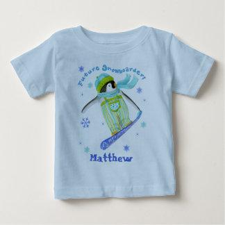 演劇、スノーボーダー、幼児Tシャツのペンギン ベビーTシャツ