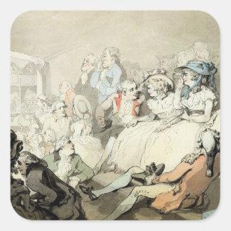 演劇、c.1785 (ペンとインクaを見ている聴衆 スクエアシール