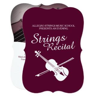 演奏会のバイオリンクラシックな音楽招待をひもでつなぎます 12.7 X 17.8 インビテーションカード