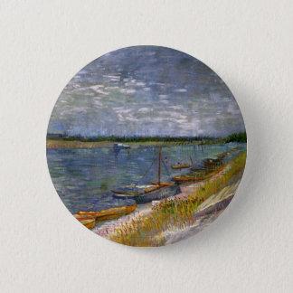漕艇が付いている川、ファインアートのゴッホの眺め 5.7CM 丸型バッジ