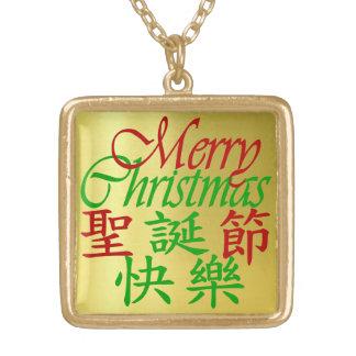 漢字および英語 ゴールドプレートネックレス