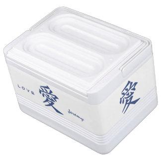漢字愛カスタムな文字及び色のクーラー 缶クーラー