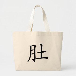 漢字: 意味するDU: 腹部、腹 ラージトートバッグ