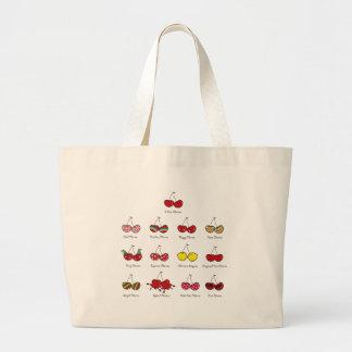 漫画のおもしろいの喜劇的なおもしろいで生意気で赤いさくらんぼのさくらんぼ ラージトートバッグ