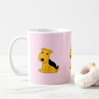漫画のにこやかなAiredaleの小犬のマグ コーヒーマグカップ
