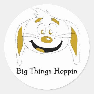 漫画のウサギのヒップホップファン ラウンドシール