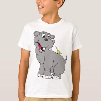 漫画のカバおよび鳥の相棒のTシャツ Tシャツ