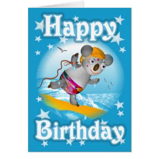 漫画のコアラのハッピーバースデーのサーファーのカードブランク グリーティングカード