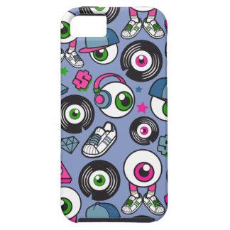 漫画のサイケデリックな眼球DJのヘッドホーン及び蹴り iPhone 5 COVER
