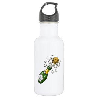 漫画のシャンペンのファンシーな緑のボトルのぽんと鳴るコルク ウォーターボトル