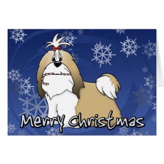 漫画のシーズー(犬)のTzuのクリスマスカード カード