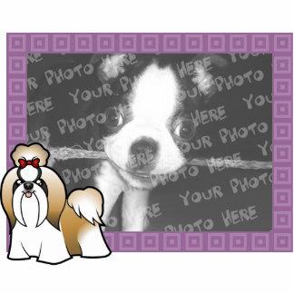 漫画のシーズー(犬)のTzuの写真フレーム(切られるショー) 写真彫刻マグネット