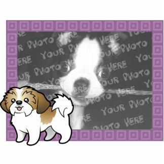 漫画のシーズー(犬)のTzuの写真フレーム(切られる子犬) 写真彫刻マグネット