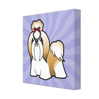 漫画のシーズー(犬) Tzu (切られるショー) キャンバスプリント