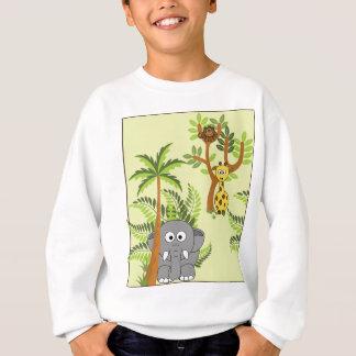 漫画のジャングル(象、キリン、猿) スウェットシャツ