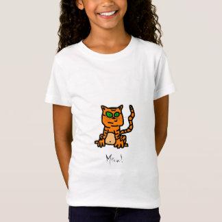 漫画のストライプのな子ネコのワイシャツ Tシャツ