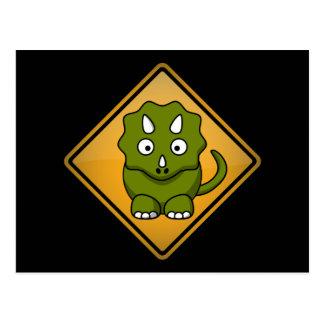漫画のトリケラトプスの警告標識 ポストカード