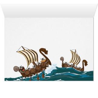 漫画のバイキングの侵入の艦隊 グリーティングカード